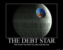 090320 Political Cartoon - The Debt Star
