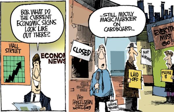 091108 Economic Signs Written on Cardboard