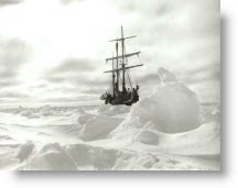 Shackleton's Boat Stuck in Ice in at the South Pole