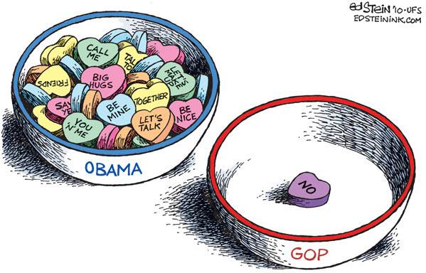 100214 Valentine's Day Cartoon Republicans Don't Heart Obama