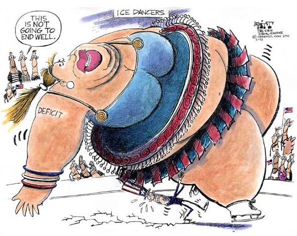 100228 Political Cartoon US Deficit Ice Dancing