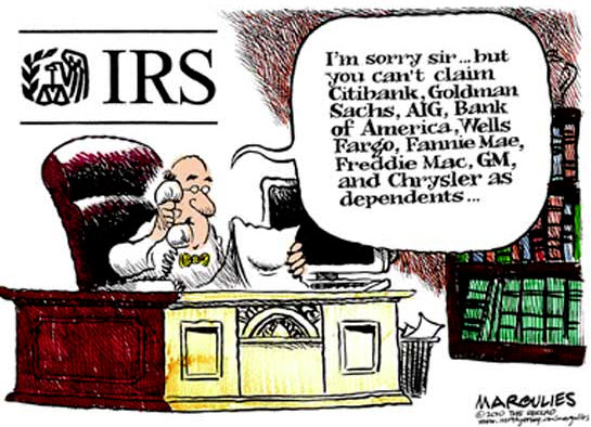 100419 Banks as Dependents Cartoon