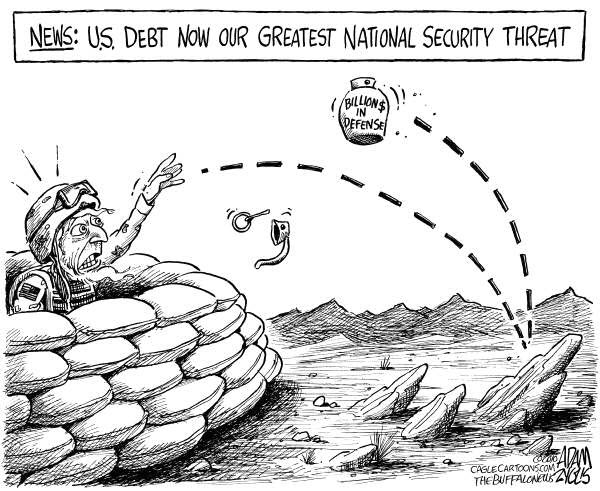 100725 Zyglis Cartoon - Debt is Biggest Security Threat