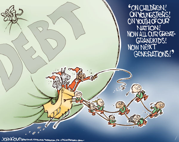 101218 Obama Claus Delivering the Debt