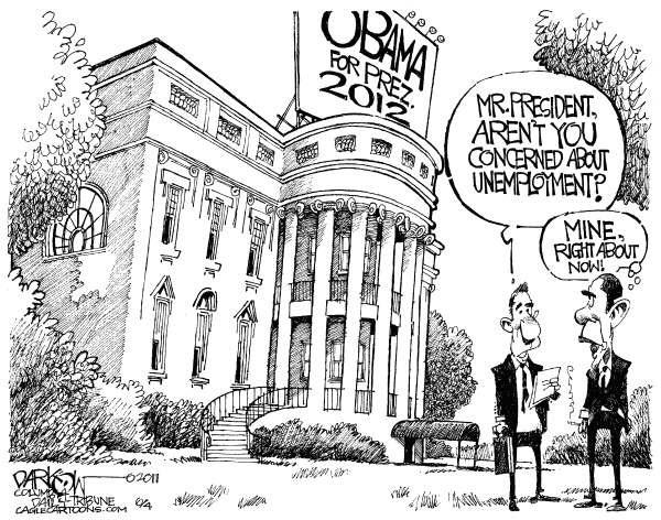 110821 Obama Unemployed in 2012 - Darkow Cartoon