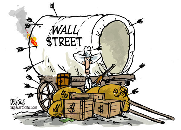 111016 Defending Wall Street -  Cartoon by Deligne